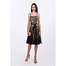 Robe De Soirée Femme Midi - Nuances Doré Noir a5a94828506b