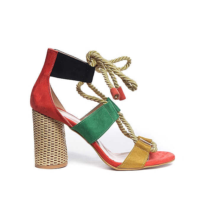 Carré Sans Sandales Multicolores Daim Talon Femme A Marque lJ31cKTF