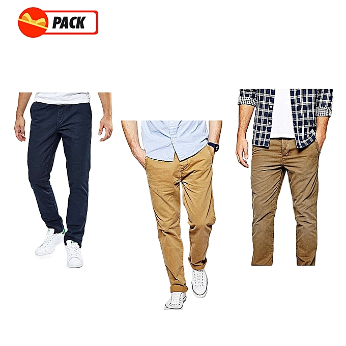 014fe18f01586 Pack - 3 Pantalons Chino Homme - Luxe Confort Org - Marron Tabac Maron