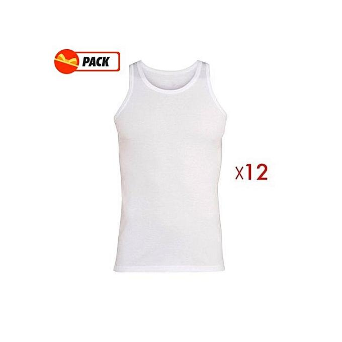sans marque pack 12 tricots de peau blanc prix pas cher jumia dz. Black Bedroom Furniture Sets. Home Design Ideas