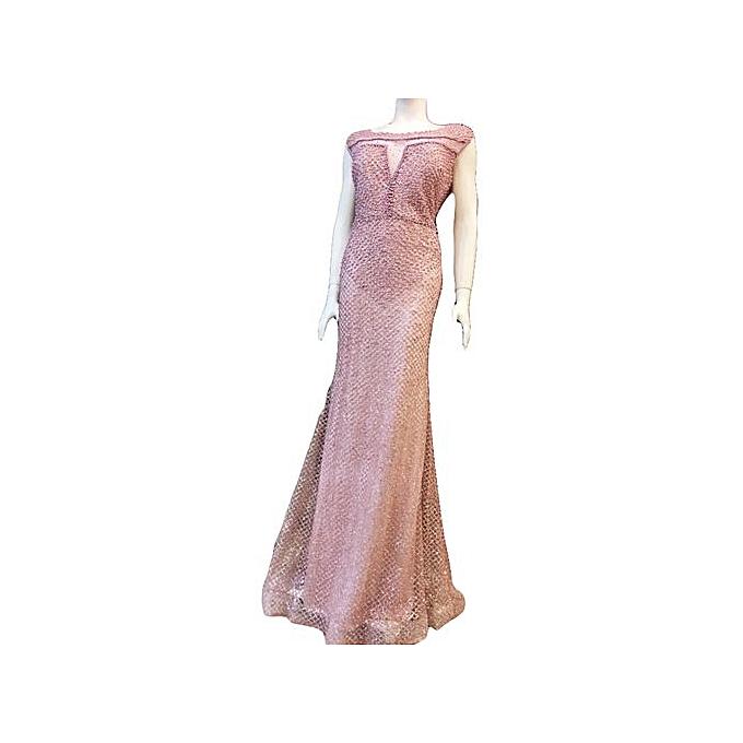 12d46db452 Sans Marque Robe De Soirée - Longue - Paillette et Strasse - Rose ...
