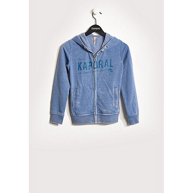 bab7aa62c8180 Kaporal Sweatshirt Tricoté à Fermeture pour Enfants - Bleu - Prix ...