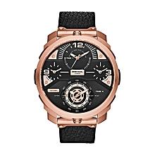 36c07bbc81488 Montre Homme - DZ7380 - Acier Inoxydable - Bracelet Cuir - Noir