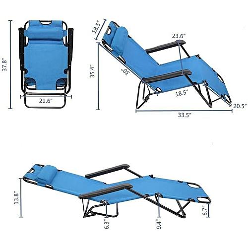 Chaise Transat Pliable Longue 3 Bleu Positions uOPXkZi