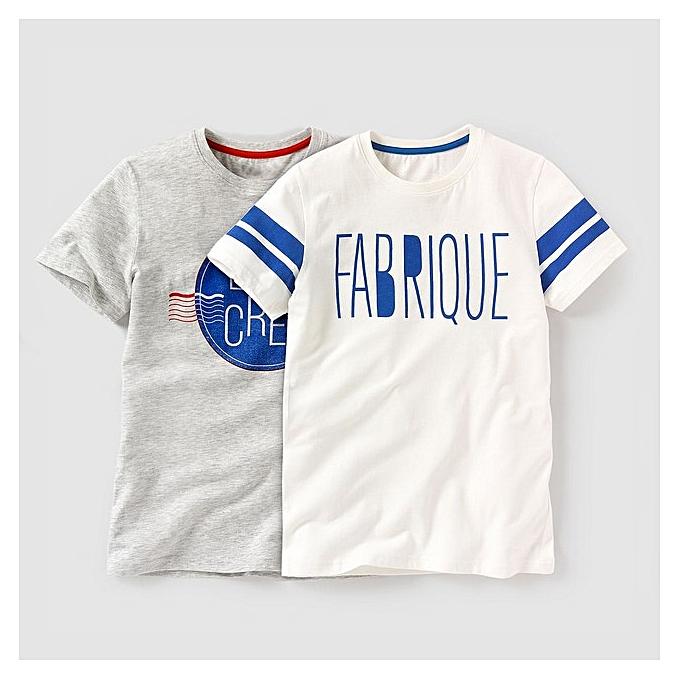 a3399e9d7a77b Sans Marque Lot de 02 T-Shirts enfants - La Redoute - Écru et Gris ...