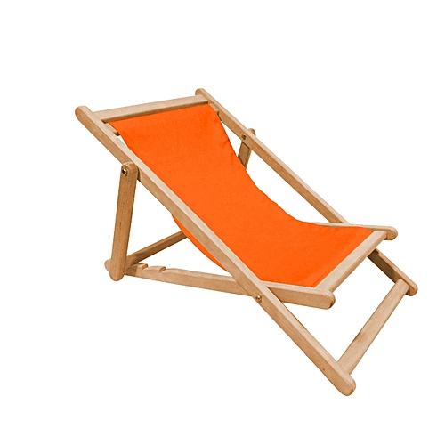 m tis ateliers chaise longue pour enfants pliable en h tre et toile orange prix pas cher. Black Bedroom Furniture Sets. Home Design Ideas