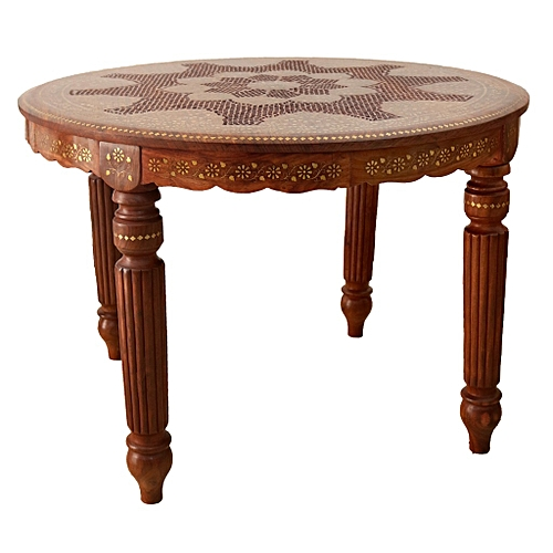 Elegant Table Ronde   En Bois Massif   Marron