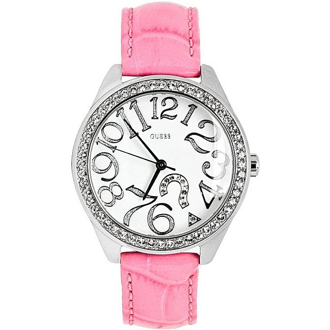 GUESS Montre Femme - W11130L1 - Acier Inoxydable - Bracelet Cuir ... 6fb3409a1fa