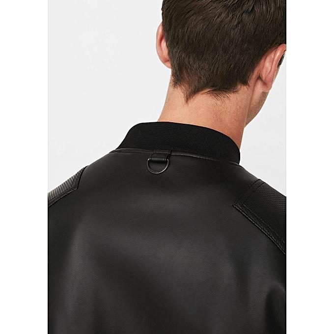 mango veste homme en cuir noir prix pas cher jumia dz. Black Bedroom Furniture Sets. Home Design Ideas