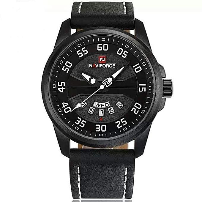 c0e4195a7bd261 NAVIFORCE Montre Homme - Bracelet Cuire - Quartz - Naviforce - Noir ...