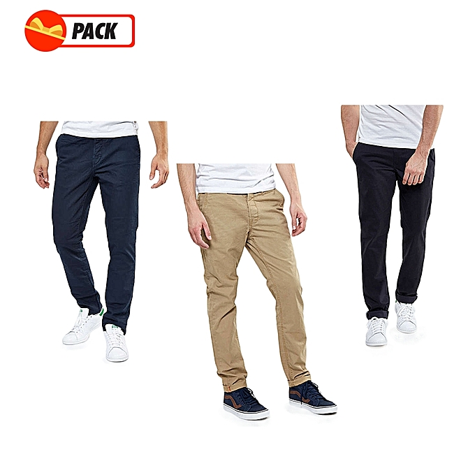 31f0990e93 Pack - 3 Pantalons Chino Homme - Luxe Confort Org - Marron Tabac/Noir/