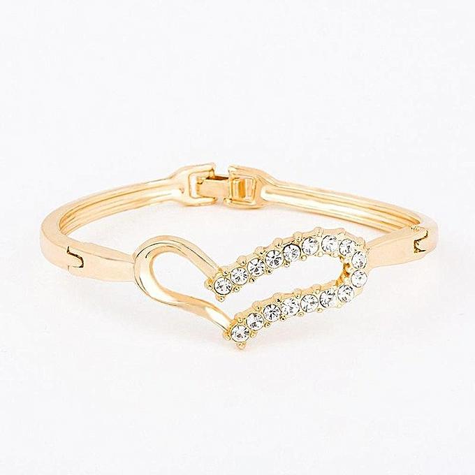 6457a9e2b82 Sans Marque Bracelet Femme - Cœur - Gold - Prix pas cher