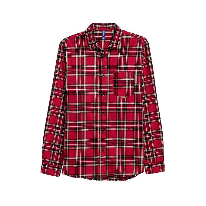 h m chemise homme en flanelle a carreaux rouge. Black Bedroom Furniture Sets. Home Design Ideas