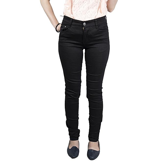 e23f69d6a5d Sans Marque Pantalon En Jean Femme - Noir - Prix pas cher