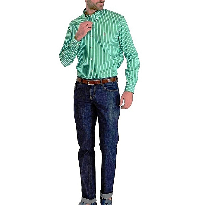 Polo Ralph Lauren Chemise Homme Custom Fit Cintré - Vert Blanc ... 02cfcbdb898b