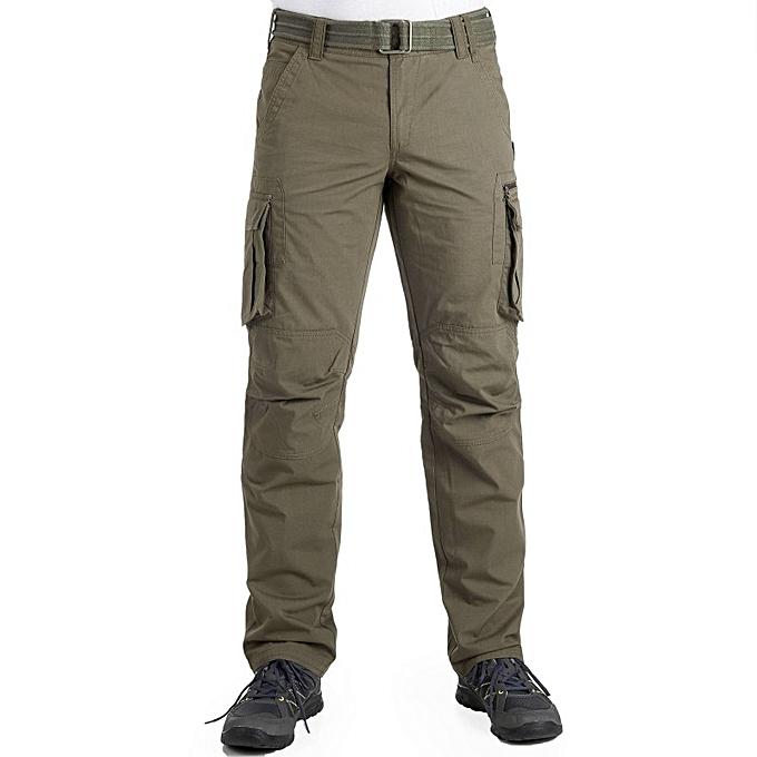 decathlon pantalon multi poches avec ceinture vert kaki. Black Bedroom Furniture Sets. Home Design Ideas