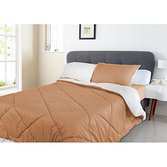 mimoza couette 2 places double faces de 03 pi ces marron clair blanc au alg rie prix pas. Black Bedroom Furniture Sets. Home Design Ideas