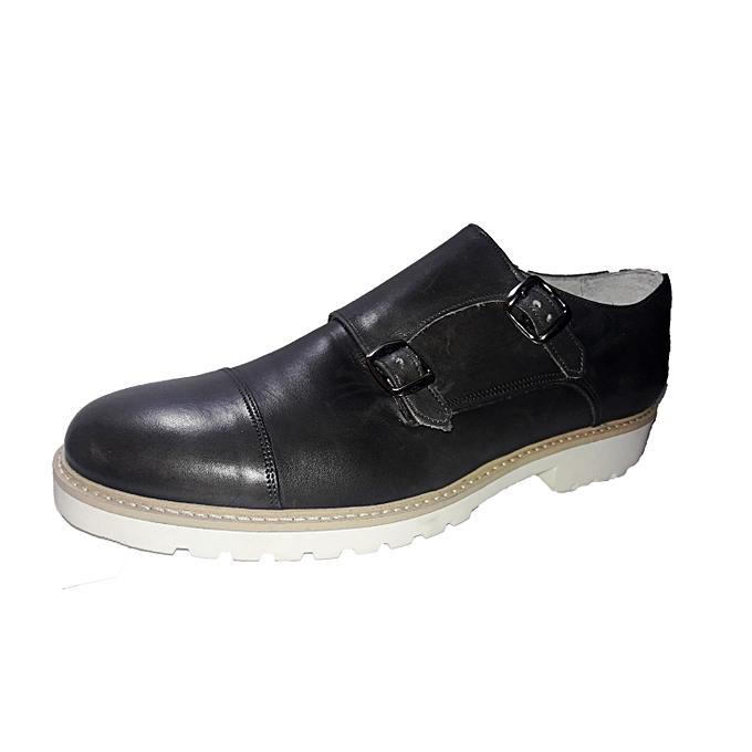 Sans Marque Chaussure Homme - Double Boucle - Gris Noir - Prix pas ... 66ee1563e72