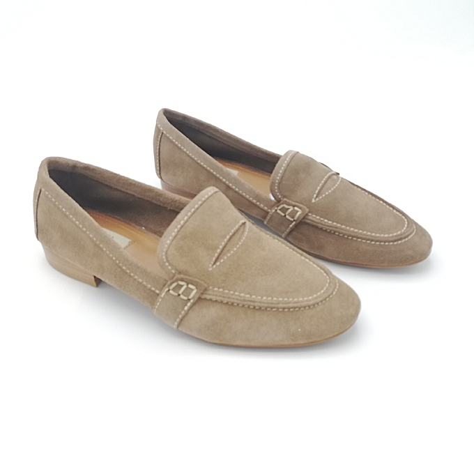Raffiné Classique Mocassin Femme Daim Beige Clothing, Shoes & Accessories