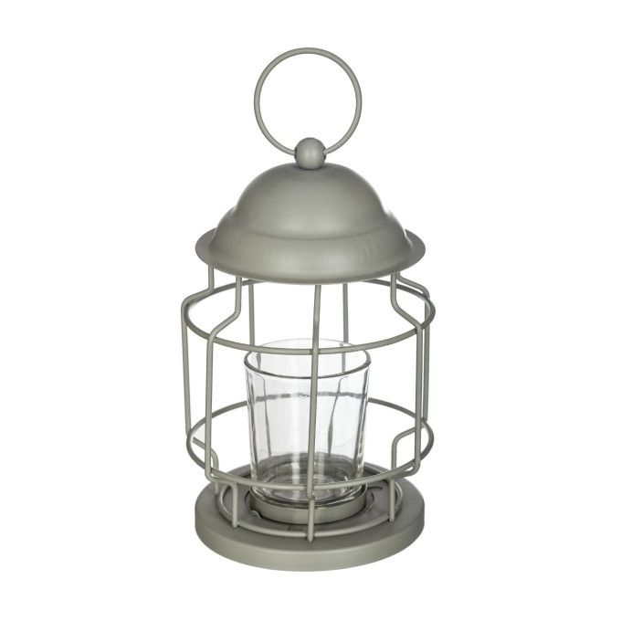 Lanterne Bougie Chandelier Bougeoir Gris