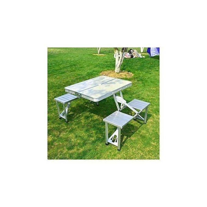 Table De Pique Nique Portable Aluminium Fonction Mallette 4 Sièges Emplacement Parasol Silver