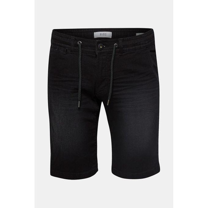 nouveau authentique nouvelle collection grand assortiment Short Homme en matière jogging stretch d'aspect jean - Noir