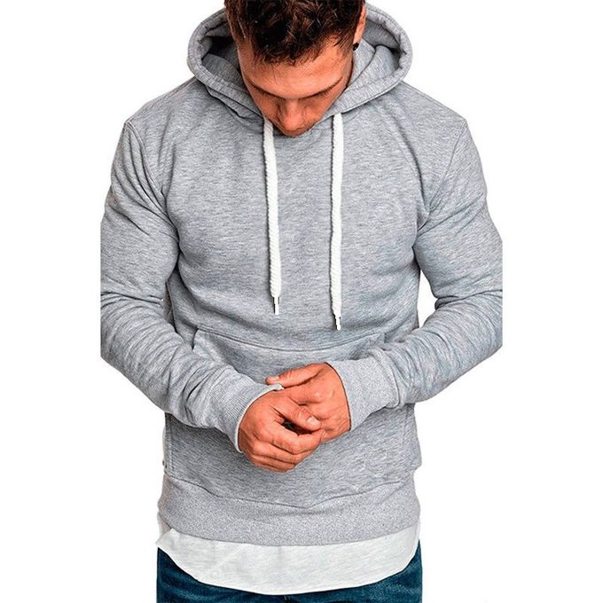 Hooded Sweat-Shirt Homme - A Capuche - Gris