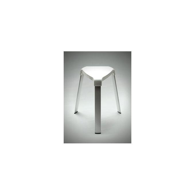Tabouret de salle de bain en aluminium - Blanc