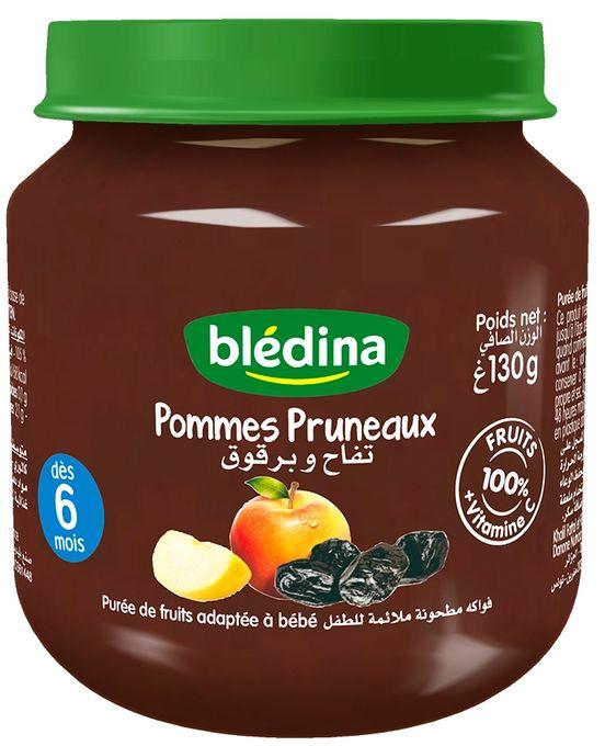 Blédina Les Petits Pots Fruités Pommes Pruneaux - Purée De Fruits Adaptée À Bébé 130 G