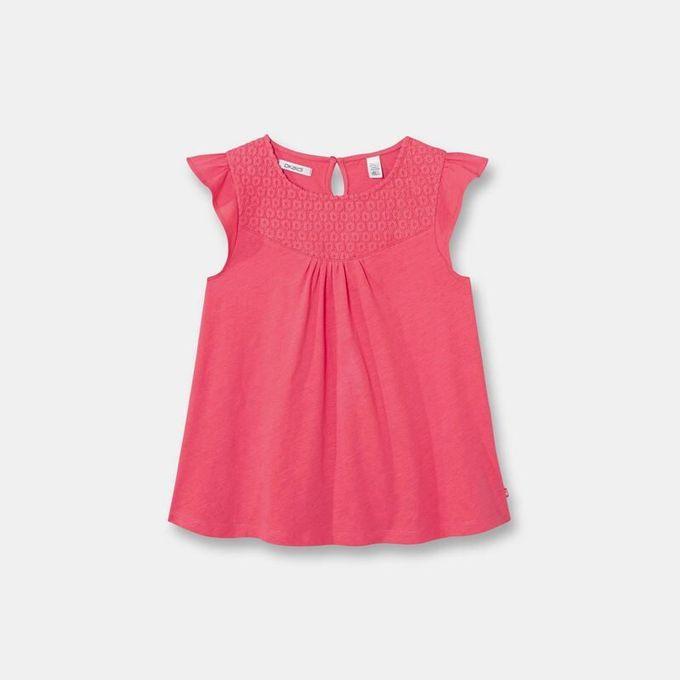 Okaidi T - Shirt Brodé Fille  -  87454  -  Rose