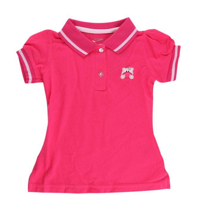 Hippo T-shirt Fille -Demi Manches-100% coton - ROSE FUCHSIA