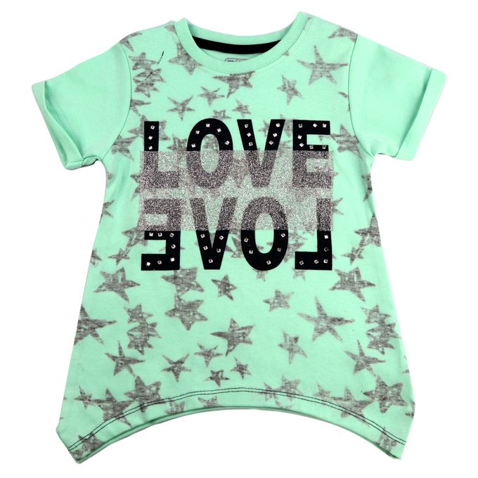 Hippo T-Shirt Fille Inscription Graphique Love Vert