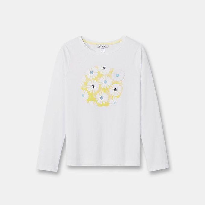 Okaidi T-Shirt Organic Cotton À Motif Brillant Fille - 0085909 - Blanc