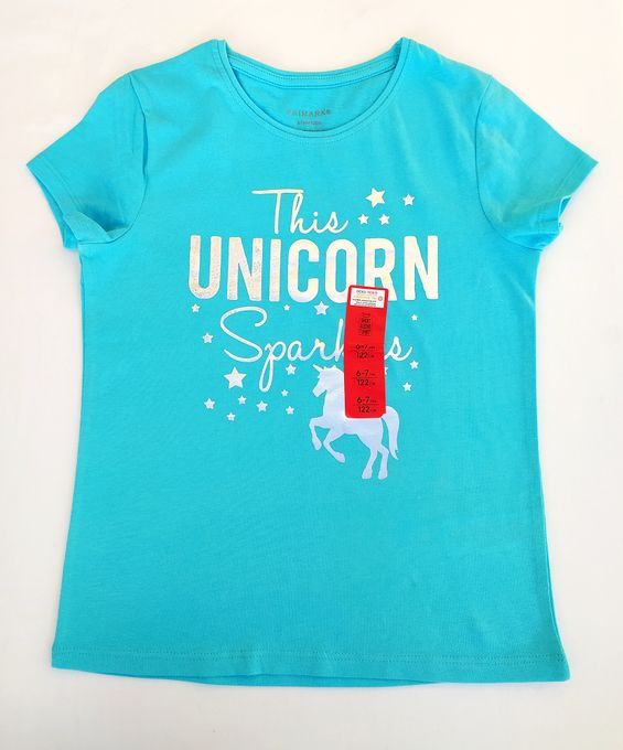 Primark T-Shirt Bleu À Imprimé this Unicorn Fille