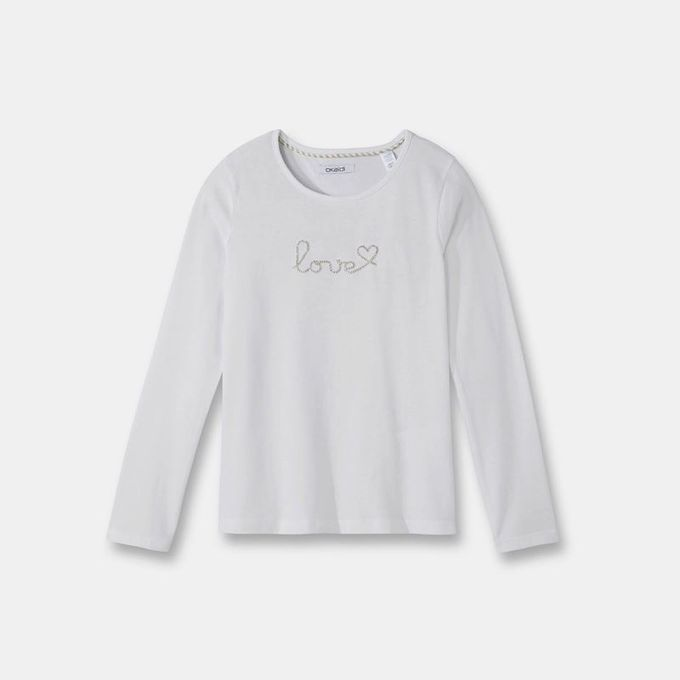 Okaidi T-Shirt Manches Longues Fille-0083666-842-Blanc