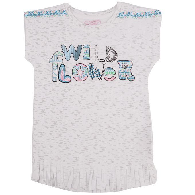 Hippo T-Shirt Fille Inscription Graphique Wild Flower Bleu