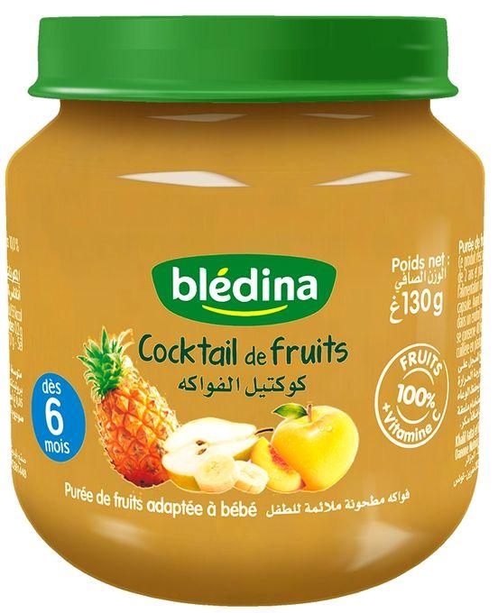 Blédina Les petits pots fruités, Cocktail de fruits, Purée de fruits adaptée à bébé 130g
