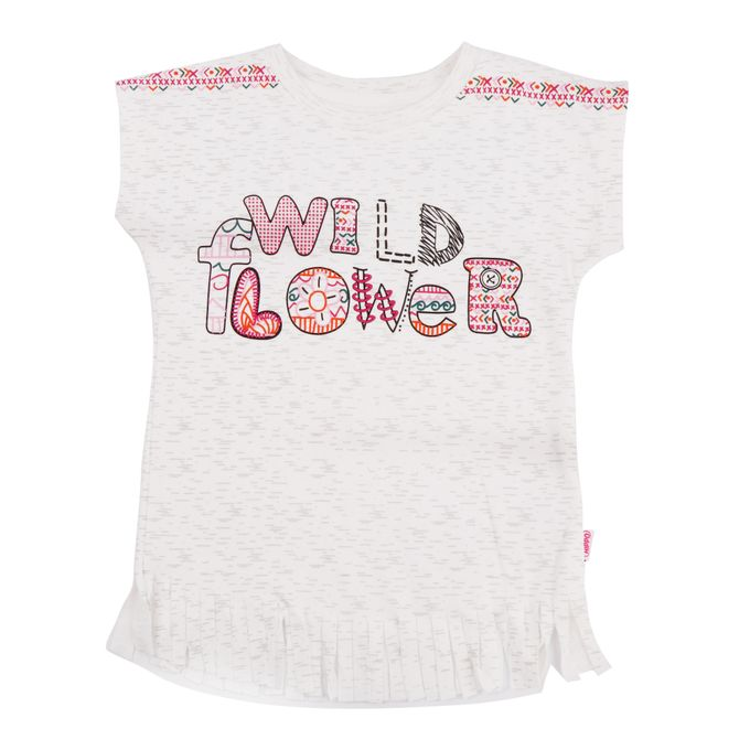 Hippo T-Shirt Fille Inscription Graphique Wild Flower Rose