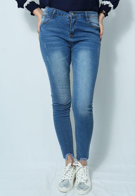 MI-DZ Jeans Délavé Slim - Bleu