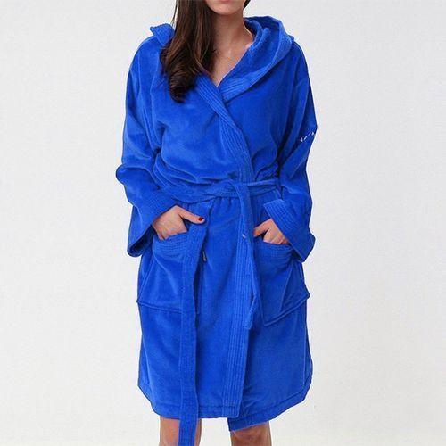 Naf Naf Peignoir Sortie-de-bain unisexe avec Capuche 100% Coton - Bleu Marine C43 - Taille L/XL