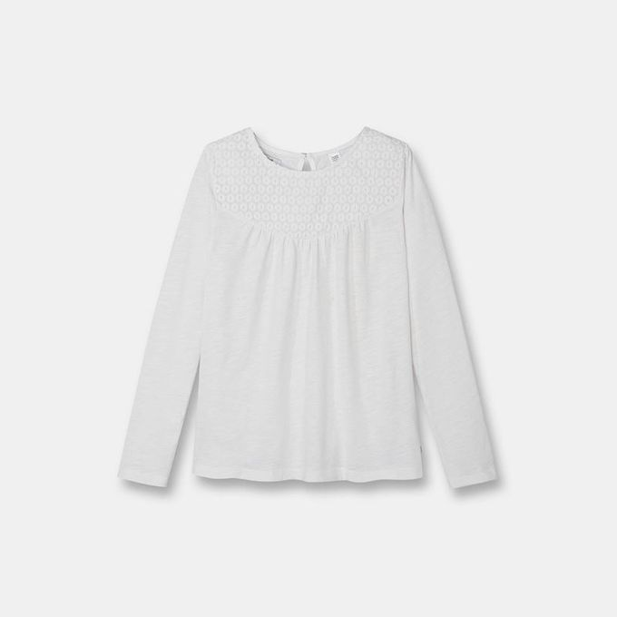 Okaidi T-shirt brodé fille-0089161-Blanc