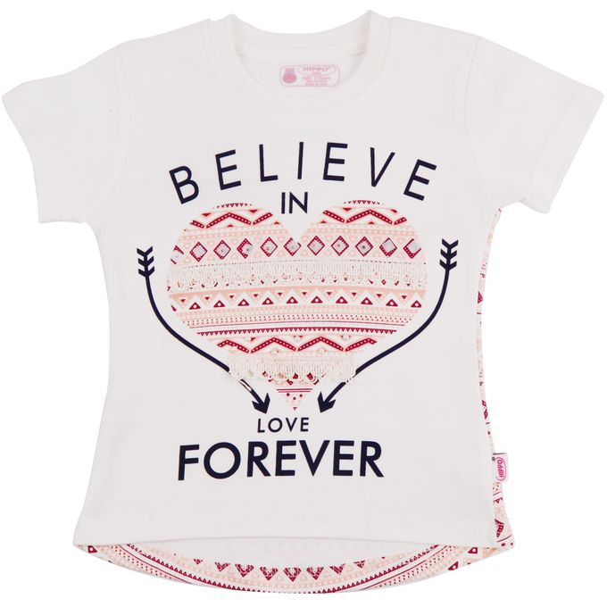 Hippo T-Shirt Fille Inscription Graphique Believe Rose