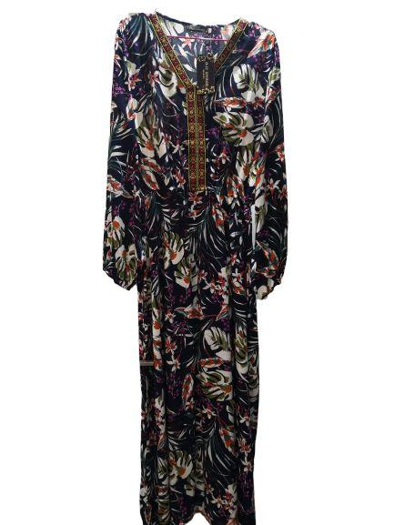 NE World Robe Longue À Fleurs-Ramadan-Noire