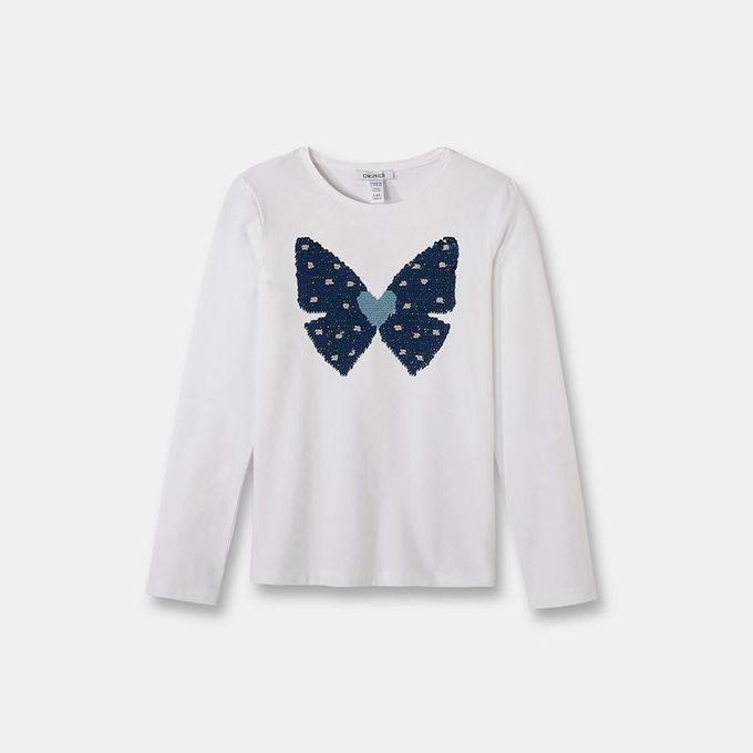 Okaidi T-Shirt Stretch À Sequins Magiques Fille-0083664-800-Blanc