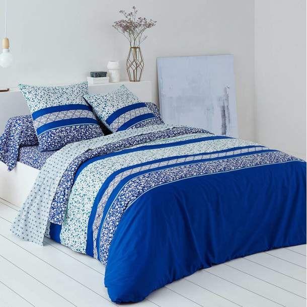 Linex Parure 2 Place  -Housse De Couette 240X220 +Drap Housse 140X190+2 T.O 63X63 -Bleu Passion -