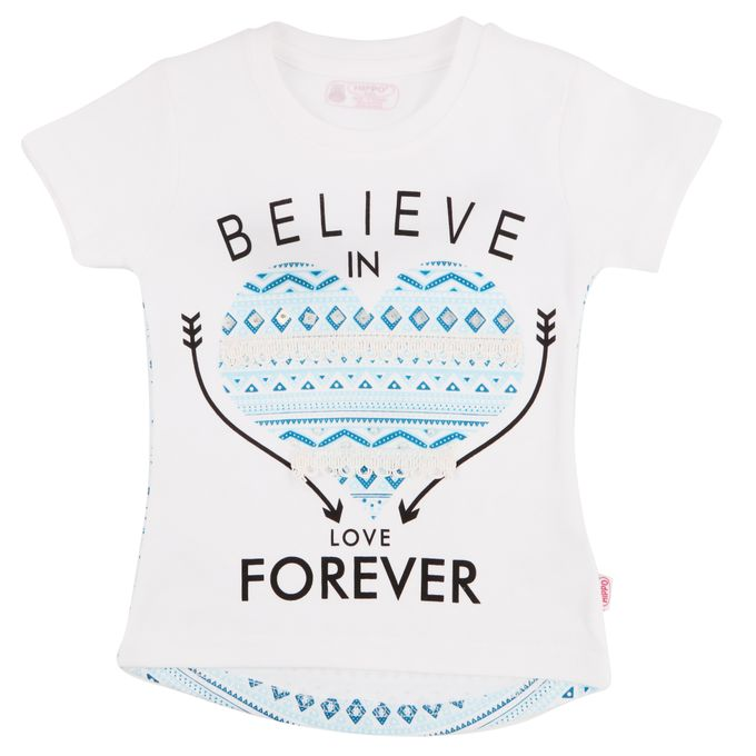 Hippo T-Shirt Fille Inscription Graphique Believe Bleu