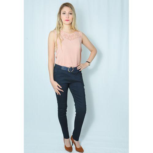MI-DZ Pantalon - Slim à ceinture tissu - Bleu