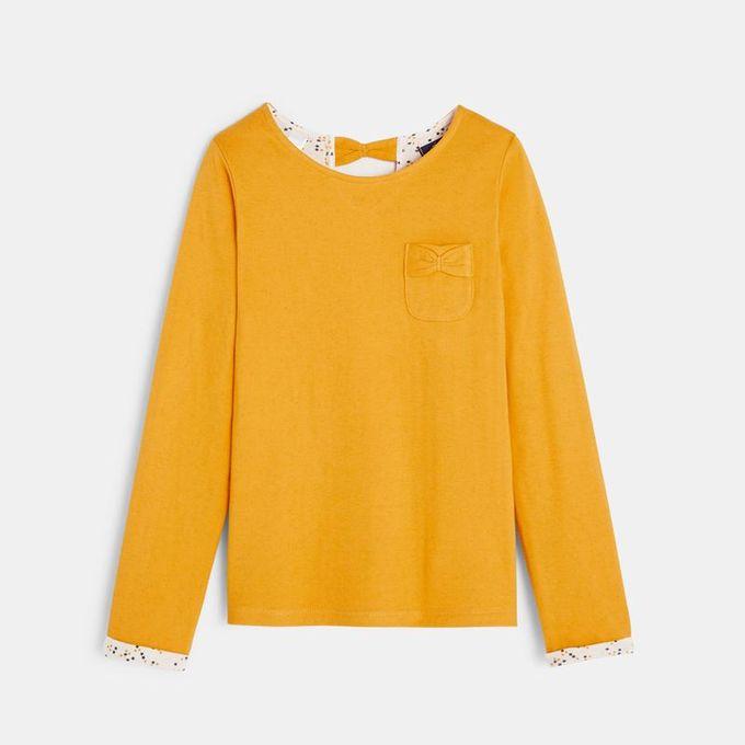 Okaidi T - shirt Détail Nœud Fille  -  0093515  -  Jaune Foncé