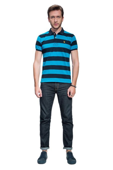 Polo Club Collection Polo Homme A Rayures  - Bleu & Noir
