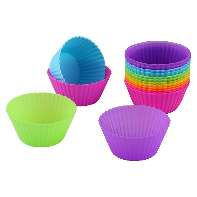 10 Moules à Muffin - Silicone - Anti-Adhésif - Multicolore